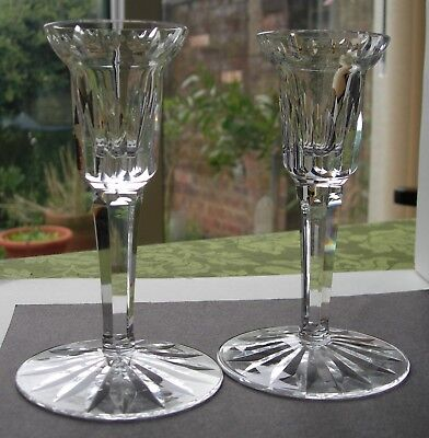 "NICE 1st QUALITY PAIR OF 5-1/2"" HIGH WATERFORD CUT CRYSTAL GLASS CANDLESTICKS"