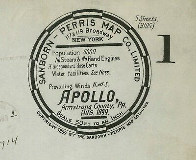 Apollo, Pennsylvania~Sanborn Map© sheet  1 map in full color~made in 1899