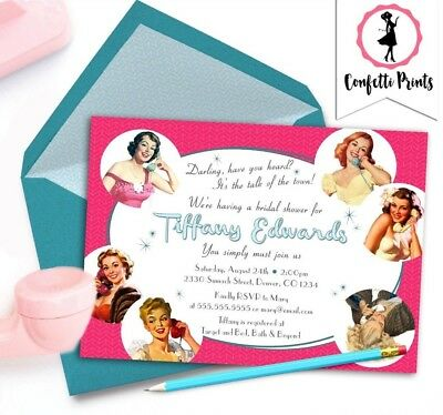 printable bridal shower invitation personalized funny retro 1950s housewife