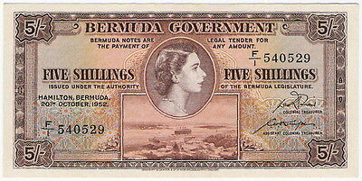 BERMUDA GOVERNMENT  5 SHILLINGS  1952  P-18a  QUEEN ELIZABETH II - CHOICE CRISP