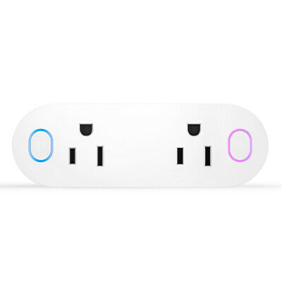 WiFi Control Socket Smart Plug Dual Swtich Outlets Timer For Echo Alexa Google
