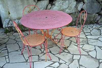 Table Jardin Ronde Metal  + 3 Chaises