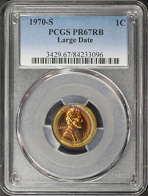 1970-S Large Date Lincoln Cent PCGS PR-67 RB Halo Rainbow -164320