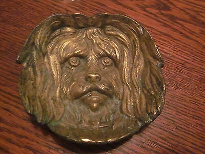 c.1940 Lhasa Apso Bronze Figural Change or Pin Tray / Cigar Ashtray