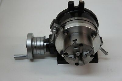 "5"" Rotary Table With 80 Mm 4 Jaw Chuck, Adapter And Clamp Set"