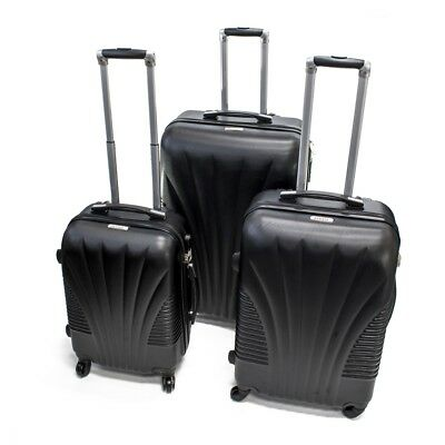 ALEKO ABS Luggage Suitcase Set with Lock Art Deco Pattern 3 Piece Black