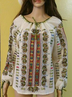 ETHNIC Blouse Hand Made  Embroidered Mexico,Hippie Boho Style