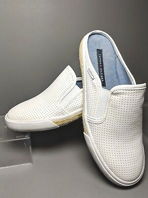 102a592095a41 TOMMY HILFIGER 7.5 White Frank 3 Slip On Sneakers Fashion Mule Flat Slides