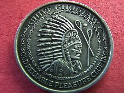 1971 Choctaw VACATIONLAND USA Brushed Aluminum 10g Hi-Relief Mardi Gras Doubloon