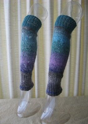 Turquoise Dream: Hand Knit ART Leg Warmers NORO Angora Silk Wool / Dance Yoga