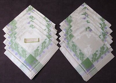 12 Linen Damask Napkins Fabulous Christmas Holly in Green & Lavender Never Used