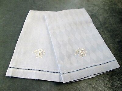 Pair Blue Harlequin Textured Towels White M R L Monograms Hemstitched Lovely!