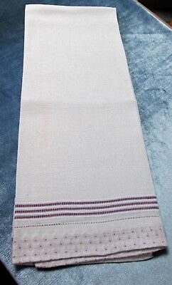 Antique French Large Nubby White Linen Towel Red & Blue Stripes Red Dot Border
