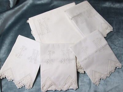 Linen Sheet 4 Pillow Cases I N Cutwork Monograms Eyelet Embroidery Crochet Trim