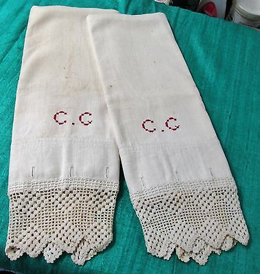 Homespun Pair Pillow Case Reds C C Monogram Filet Crochet Trim Button Closure