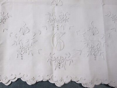 Antique Linen Lay Over or Mantle Cover G Monogram Whitework Eyelet Embroidery