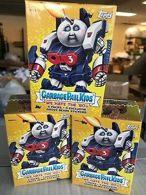 3 GPK Topps 2018 Garbage Pail Kids S1 We Hate the 80's sketch BLASTER BOXES LOT