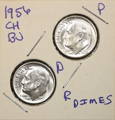 1956 P & 1956 D Roosevelt DimeS Ch BU US Coin FREE SHIPPING