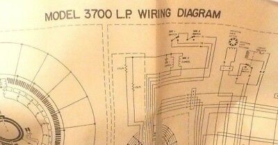 wurlitzer 3700 jukebox - wiring diagram & sequence ops - large 6 panel fold  out