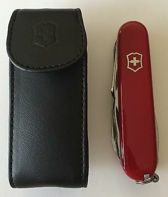 Swiss Army Knife With Leather Pouch, Red Explorer, Victorinox 53823, New In Box