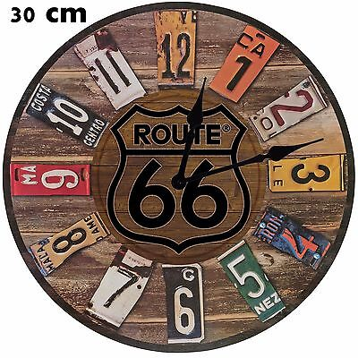 Historic ROUTE 66 Large 30 cm MDF WOOD Wall Clock Can be personalised