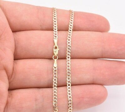"""2.5mm Miami Curb Cuban Pave Chain Ankle Anklet Real 10K Yellow White Gold 10"""""""