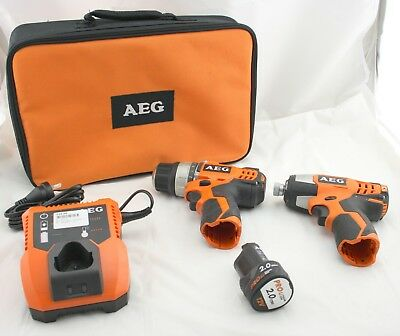 AEG Compact Drill + Impact Driver Cordless +1 x 12V Battery + Charger Mini Small