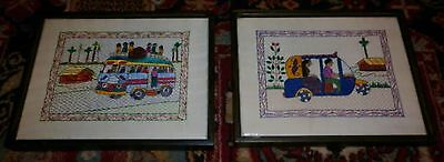 Vintage Pair Hand Emroidered Funky Framed Bus Pictures Excellent Condition