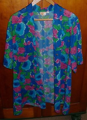 VINTAGE 1980s BRIGHT SUMMER BEACH JACKET / COVER UP  LARGE EXCELLENT CONDITION