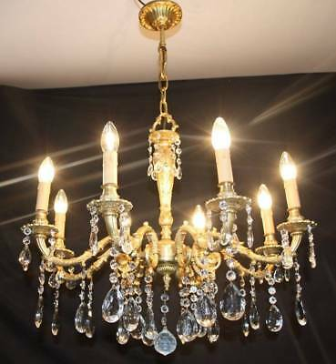 VINTAGE FRENCH CHANDELIER 8 ARM LARGE  ANTIQUE STYLE  BRASS CEILING LIGHT (my1)