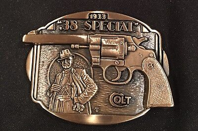 COLT .38 SPECIAL Firearms Guns Weaponry BELT BUCKLE Brass USA Vintage 80's~NEW!