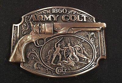 Colt Army Firearms Guns Weaponry BELT BUCKLE Brass USA Vintage 80's~NEW!