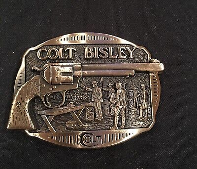 Colt Bisley Firearms Guns Weaponry BELT BUCKLE Brass USA Vintage 80's~NEW!