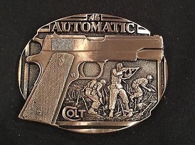 COLT AUTOMATIC Firearms Guns Weaponry BELT BUCKLE Brass USA Vintage 80's~NEW!