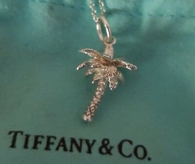 a8014e71b Tiffany & Co Silver Nature Palm Tree Necklace Pendant Charm Chain Excellent