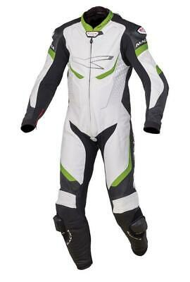 Macna Exone Motorcycle Leather One Piece Suit White Black Green RRP £699.99