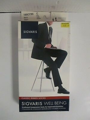 Sigvaris Well Being Classic Ribbed Socks Size C Black - Rc 6275
