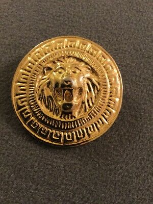 Vintage Large Round Heavy Gold Tone Lion Head Brooch Pin (M)