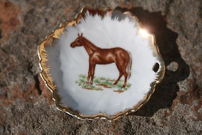 Vintage Napco Brown Horse Stand Miniature Plate Dish Gold Trim Leaf Shaped 4 in