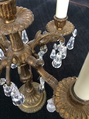 Pair of Candelabras Crystal & Brass - Electric - Antique Spanish