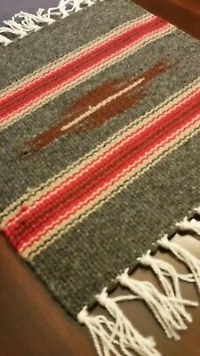 Chimayo 100% Wool Textile 10 X 10 Gray and Red Color  Weaving Made in New Mexico