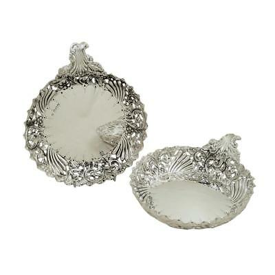 PAIR of ANTIQUE VICTORIAN STERLING SILVER STRAWBERRY DISHES - 1893