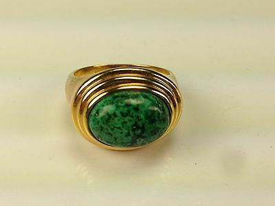 Lovely Sterling Silver 925 Gold Wash Cocktail Ring With Green Stone Size 9