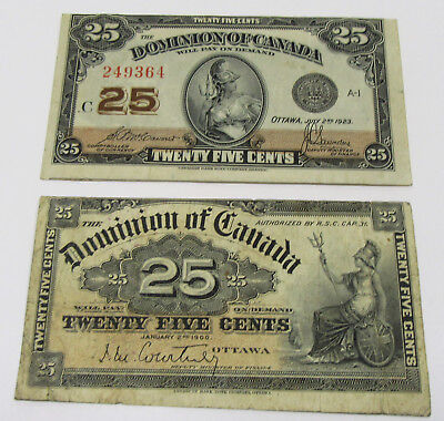 1900 & 1923 Canada - 2 Old 25 Cent Notes