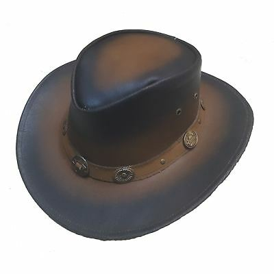 Authentic Benmore Outback Collection Pull Up Dark Brown Cow Leather Hat Western