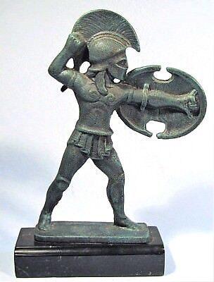 Ancient Greek Hoplite Warrior Verdigris Bronzed Sculpture Berlin Museum Replica