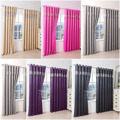 New Shiny Sequin Thermal Blackout Luxurious Curtains Pair Ready Made Eyelet Top