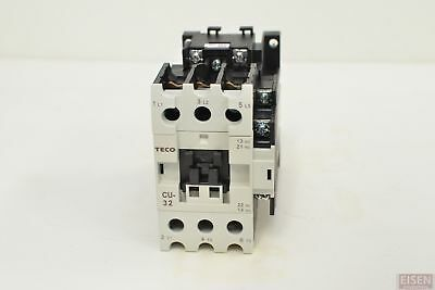 TECO CU-32 magnetic contactor, 50A, 3 phase, 24v coil, 3A1a1b (NO and NC)