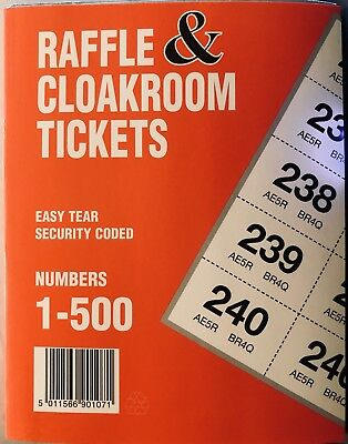 raffle cloakroom tombola tickets blue book of 500 duplicate stubs