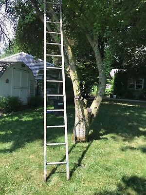 14' Tall Antique 13 Rung Primitive Orchard Barn Rustic Wooden Ladder Hand Made